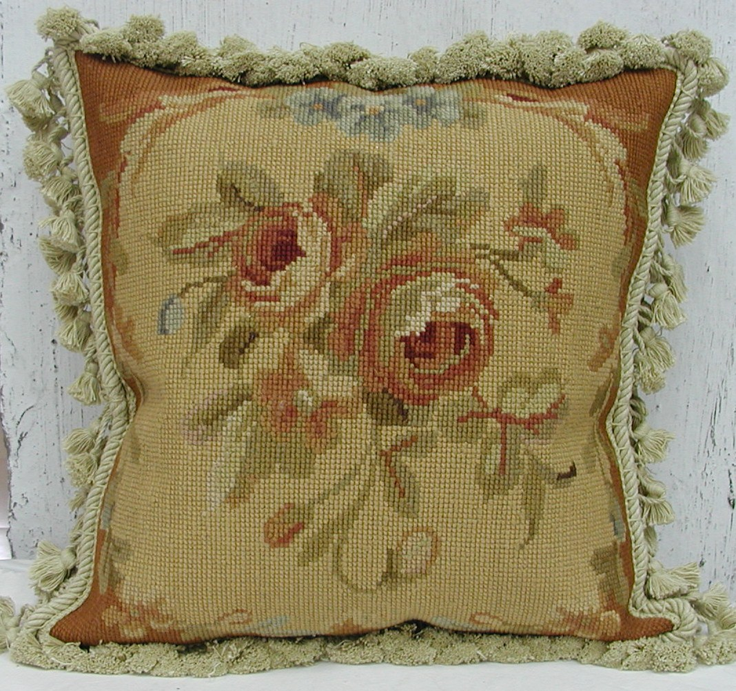 14″ x 14″ Handmade Wool Needlepoint Cushion Cover Pillow Case