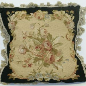 "18"" x 18"" Handmade Wool Needlepoint Petit Point Black Cushion Cover Pillow Case"