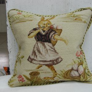 "16"" x 16"" Handmade Wool Needlepoint Dancing Rabbit Bunny Cushion Cover Pillow Case (Copy)"