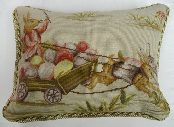 14 x 18 Handmade Wool Needlepoint Rabbit Easter Bunny Cushion Cover Pillow Case 12980139