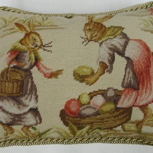 "14"" x 18"" Handmade Wool Needlepoint Rabbit Bunny Cushion Cover Pillow Case"