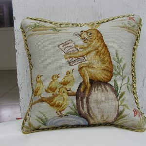 "16"" x 16"" Handmade Wool Needlepoint Rabbit Bunny Bird Story Time Cushion Cover Pillow Case"