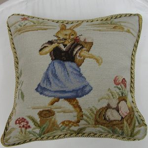 "16"" x 16"" Handmade Wool Needlepoint Dancing Rabbit Bunny Cushion Cover Pillow Case"