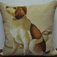 "21"" x 21"" Handmade Wool Needlepoint Dog Cushion Cover Pillow Case"