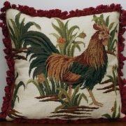 """26"""" x 26"""" Handmade Wool Needlepoint Rooster Cushion Cover Pillow Case"""