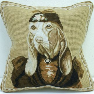 "12"" x 12"" Handmade Wool Needlepoint Petit Point Dog Cushion Cover Pillow Case"