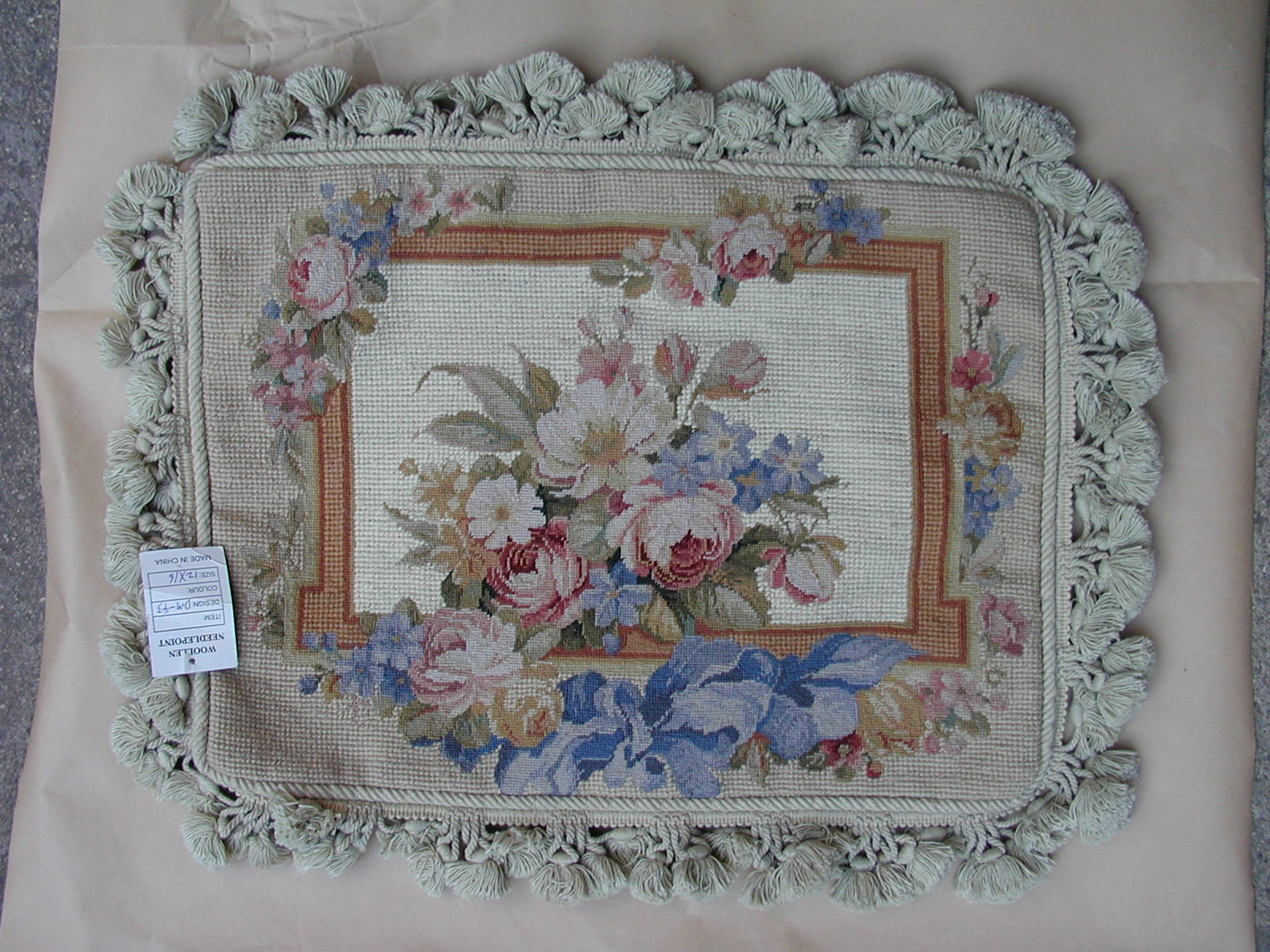 "12"" x 16"" Handmade Wool Needlepoint Petit Point Blue Ribbon and Roses Cushion Cover Pillow Case"