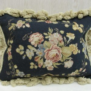"12"" x 16"" Handmade Wool Needlepoint Petit Point Black Cushion Cover Pillow Case"