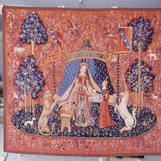 6′4″W x 5′7″H Lady and Unicorn Handwoven Aubusson Tapestry Wall Hanging 12980002