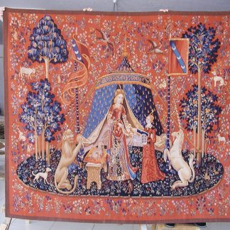 "6'4""W x 5'7""H Hand-woven French Gobelins Weave Wool Aubusson Lady and Unicorn Tapestry Wall Hanging 12980002"