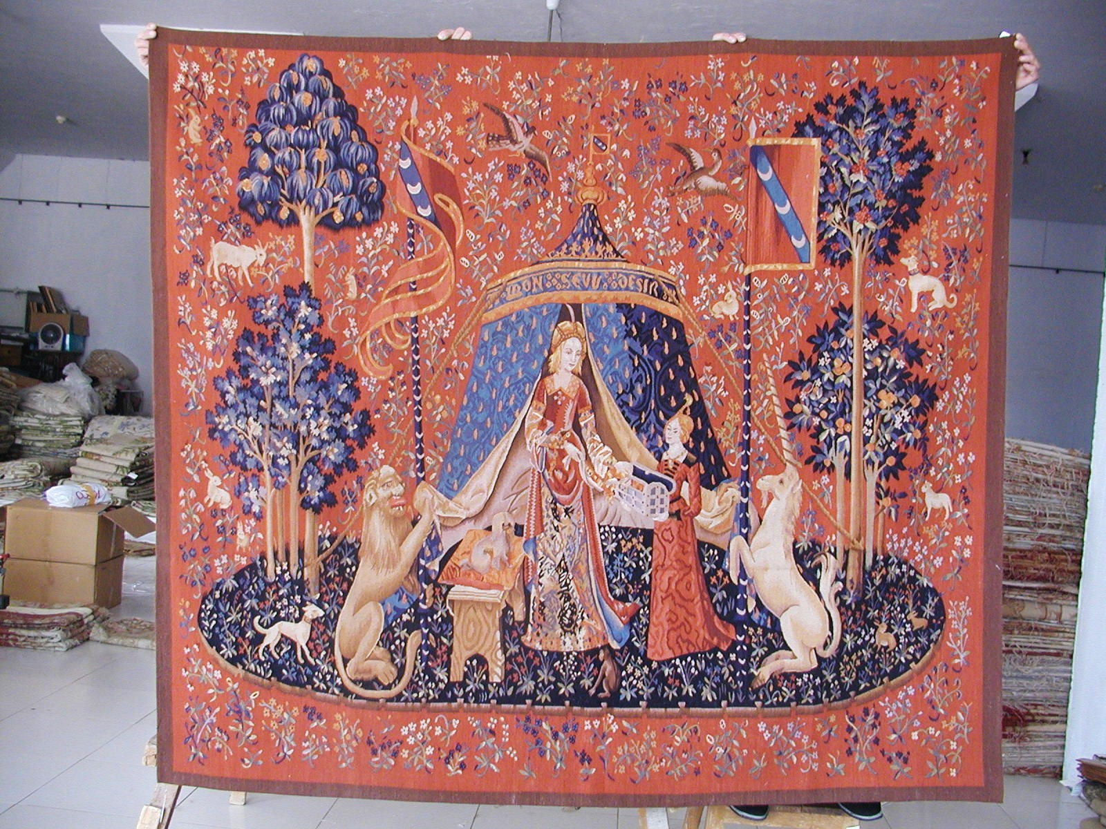 6'4″W x 5'7″H Hand-woven French Gobelins Weave Wool Aubusson Lady and Unicorn Tapestry Wall Hanging 12980002