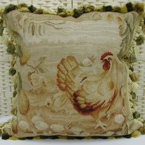 Handmade Aubusson Rooster Pillow