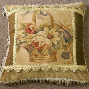 "20"" x 20"" Handmade Basket of Flowers Gobelin Tapestry Wool Aubusson Cushion Cover Pillow Case"
