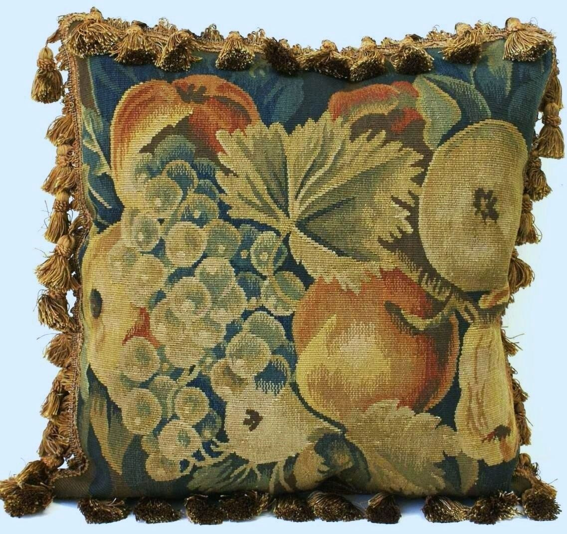 """18"""" x 18"""" Handmade French Gobelin Tapestry Weave Wool Aubusson Cushion Cover Pillow Case"""