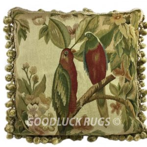 "18"" x 18"" Handmade Parrot French Gobelin Tapestry Weave Wool Aubusson Cushion Cover Pillow Case"