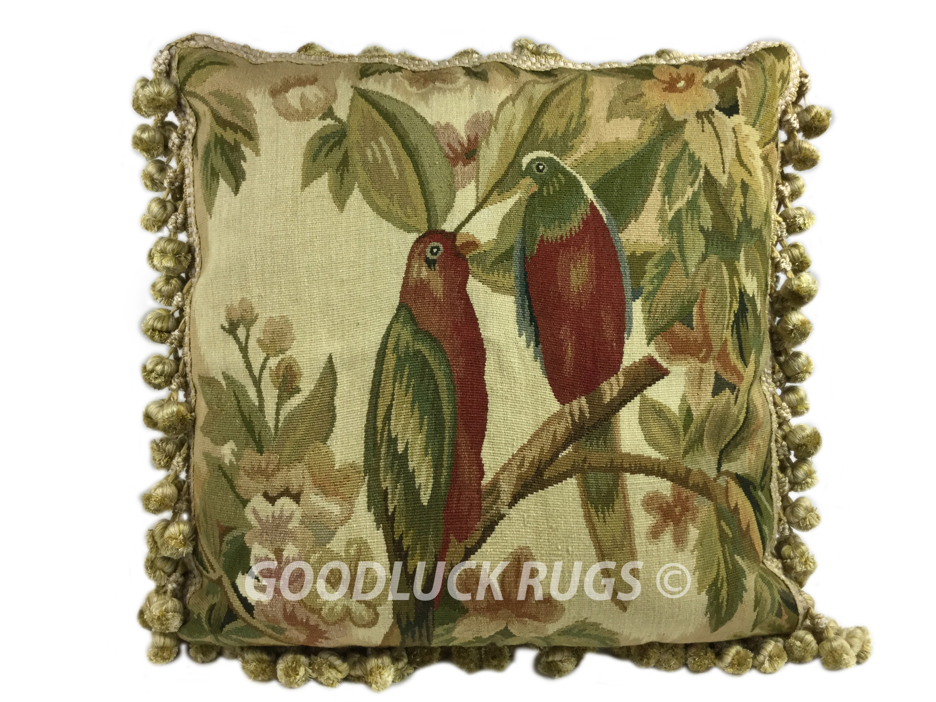 """18"""" x 18"""" Handmade Parrot French Gobelin Tapestry Weave Wool Aubusson Cushion Cover Pillow Case"""