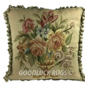 "20"" x 20"" Handmade Antique Reproduction Gobelin Tapestry Wool Aubusson Pillow Cover"
