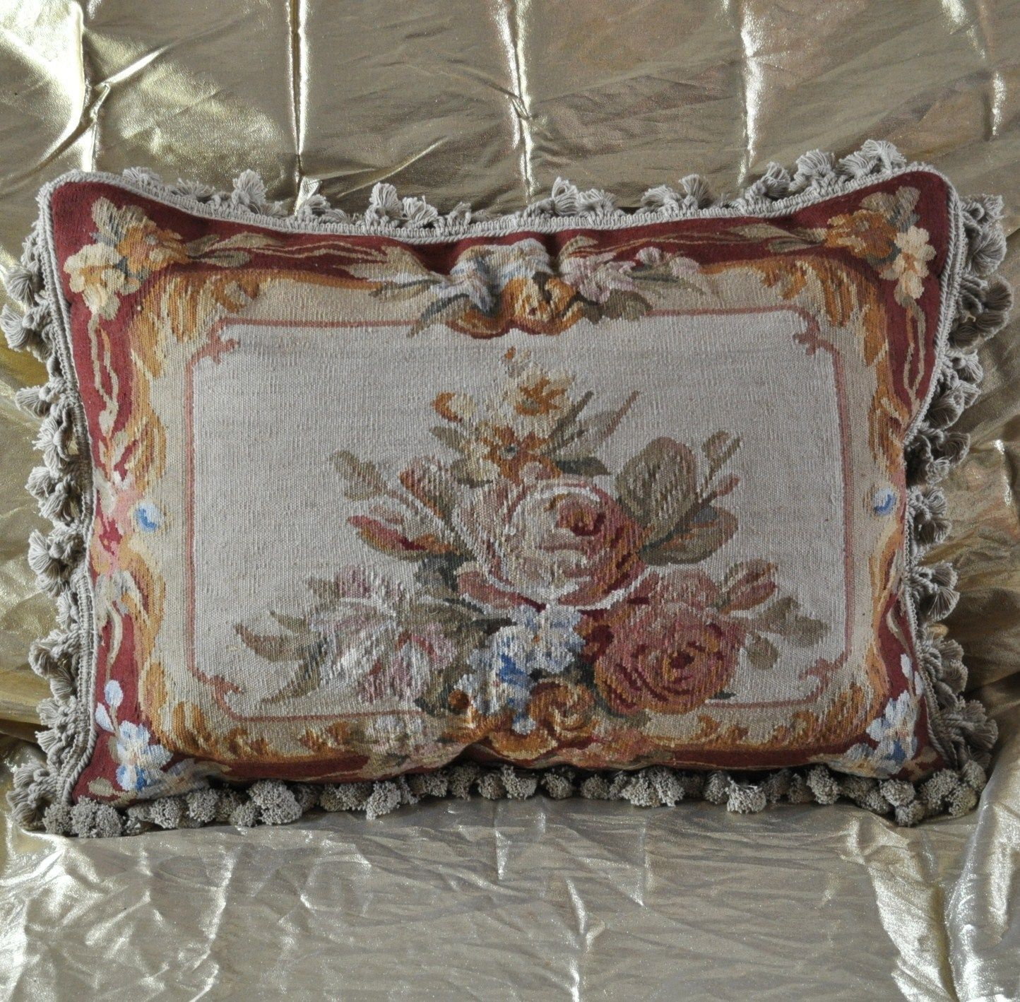 """18"""" x 24"""" Handmade Gobelin Tapestry Weave Wool Aubusson Pillow Case Cushion Cover"""