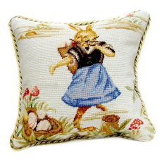 """16"""" x 16"""" Handmade Wool Needlepoint Dancing Rabbit Easter Bunny Cushion Cover Pillow Case 12980146"""
