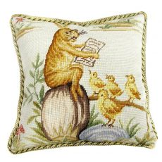 """16"""" x 16"""" Handmade Wool Needlepoint Rabbit Easter Bunny Bird Story Time Cushion Cover Pillow Case 12980143"""
