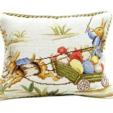 """14"""" x 18"""" Handmade Wool Needlepoint Rabbit Easter Bunny Cushion Cover Pillow Case 12980149"""