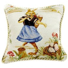 """16"""" x 16"""" Handmade Wool Needlepoint Dancing Rabbit Easter Bunny Cushion Cover Pillow Case 12980145"""