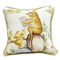 """16"""" x 16"""" Handmade Wool Needlepoint Rabbit Easter Bunny Bird Story Time Cushion Cover Pillow Case 12980144"""