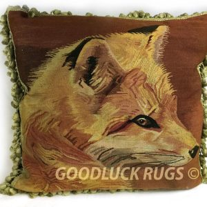 "20"" x 20"" Handmade Fox Antique Repro Gobelin Tapestry Wool Aubusson Pillow Cover"