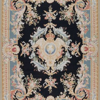 9' x 12' Hand-woven Wool French Aubusson Rug