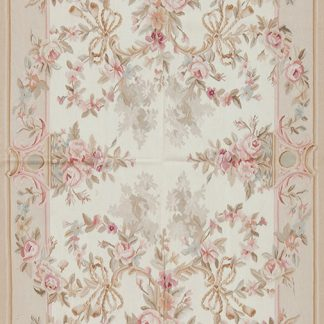4' x 6' Hand-woven Wool French Aubusson Rug