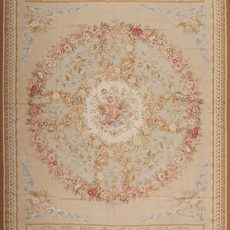 10' x 14' Hand-woven Wool French Aubusson Rug
