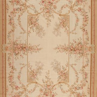 "10' x 14'6"" Hand-woven Wool French Aubusson Rug"