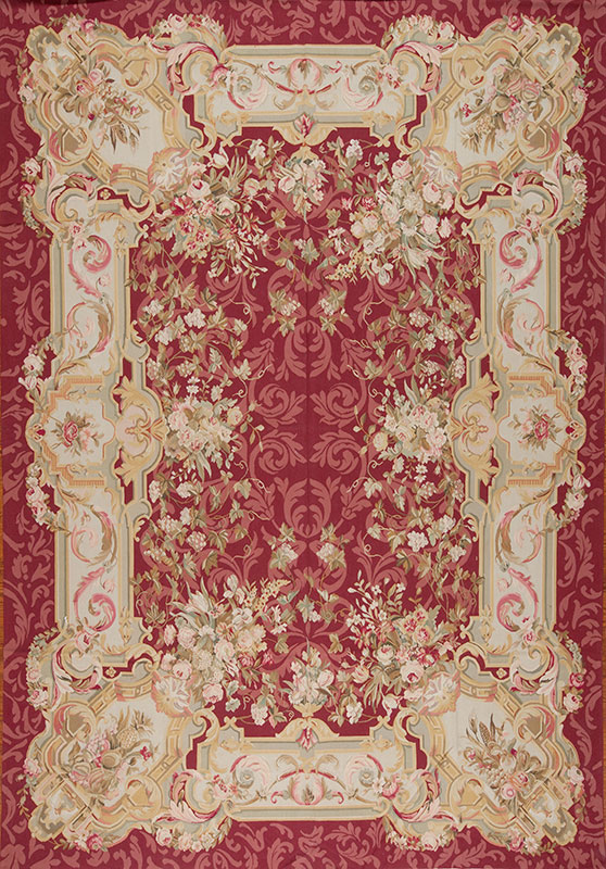 10 X 14 Hand Woven Wool French Aubusson Rug