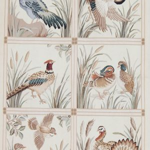 4' x 6' Hand-woven Bird Pheasant Wool French Aubusson Tapestry Rug