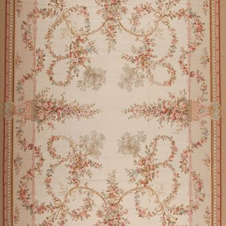 12' x 18' Hand-woven Wool French Aubusson Oversize Rug