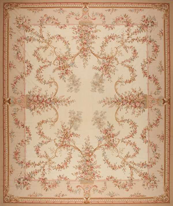 """16'3"""" x 19'3"""" Hand-woven Wool French Aubusson Oversize Rug"""