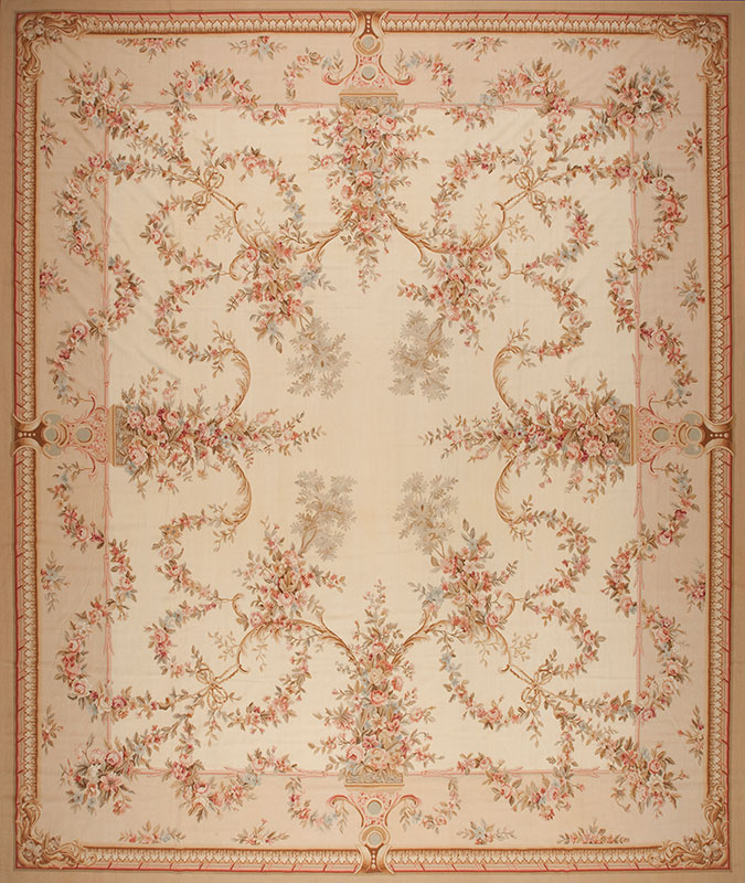 16'3″ x 19'3″ Hand-woven Wool French Aubusson Oversize Rug