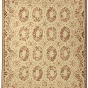 Hand-woven Wool French Aubusson Flat Weave Wreath Cream Rug