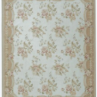 Hand-woven Wool French Aubusson Flat Weave Ivory Peach Rug