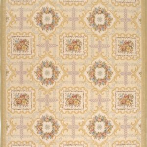 Hand-woven Wool French Aubusson Flat Weave Wreath Fruit Ivory Gold Rug