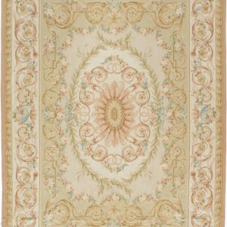 Hand-woven Wool French Aubusson Flat Weave Light Green Rug