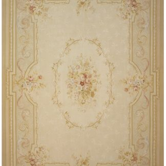 Hand-woven Wool French Aubusson Flat Weave Cream Rose Rug