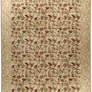 Hand-woven Wool French Aubusson Flat Weave Honey Rug