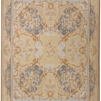 Hand-woven Wool French Aubusson Flat Weave Ivory Blue Rug