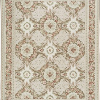 Hand-woven Wool French Aubusson Flat Weave Wreath Pink Cream Rug