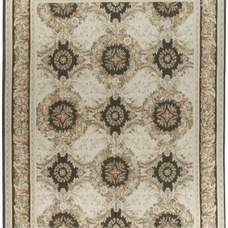 Hand-woven Wool French Aubusson Flat Weave Wreath Pink Brown Rug