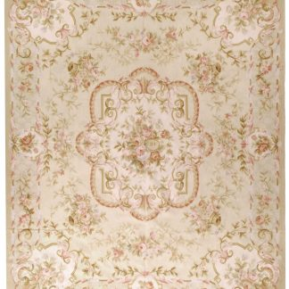 Hand-woven Wool French Aubusson Flat Weave Basket of Flowers Musical Instruments Gold Ivory Rug