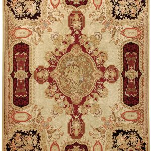 Hand-woven Wool French Aubusson Flat Weave Louis XV Gold Black Rug