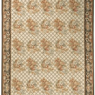 Hand-woven Wool French Aubusson Flat Weave Bouquet Ivory Charcoal Rug