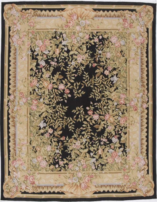 Hand-woven Wool French Aubusson Flat Weave Black Rug